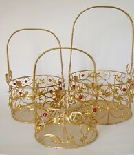 Gold Christmas Wire Baskets set of 3