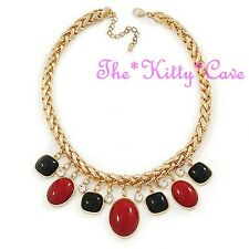 Statement Dramatic Red & Black Charms Heavy Braided Gold Plated Crystal Necklace