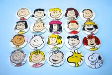 SET OF 20 VINTAGE STYLE CHARLIE BROWN SNOOPY & FRIENDS BUTTON PIN BADGES