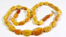 55,6 gr. Art Deco Amber Butterscotch Bernsteinkette Necklace Egg Ambre Collier
