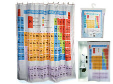 NEW PERIODIC TABLE SHOWER CURTAIN ELEMENT CHEMISTRY POLYESTER W HOOKS RINGS BATH