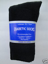 3 pair of mens black Diabetic crew socks 13-15 KING SIZE ( MADE IN USA )