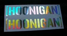 200mm HOONIGAN x2 Silver Hologram Neo Chrome Ken Block Car Stickers Decals JDM