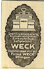 Weck Öflingen STERILISIERAPPARATE KONSERVENGLÄSER Historische Reklame von 1921