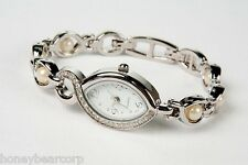 New Avon PEARLESQUE Silver Bracelet WATCH - White / Cream Pearls NEEDS BATTERY