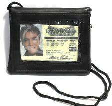 Genuine Leather Neck ID Badge Holder with zip coin pouch Wallet and Neckstrap