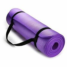 Exercise  Yoga Mat High Density with Carrying Strap Purple by HemingWeigh