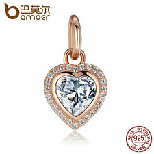 Bamoer Authentic S925 Sterling Silver Heart Charms LOVE Heart With Clear CZ hot