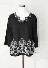 NWT ALFRED DUNNER Via Condotti Casual Knit Top 3/4 Sleeve Black White Beaded PXL