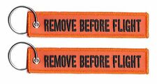 2 REMOVE BEFORE FLIGHT LUGGAGE KEYCHAIN KEY RING PILOT CABIN CREW BLACK/ORANGE