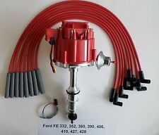FORD FE 332,352,360,390,410,427,428 RED HEI Distributor + RED Spark Plug wires