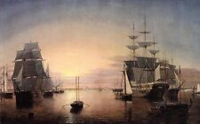 """Stunning Oil painting seascape Boston Harbor at Sunset with big sail boats 36"""""""