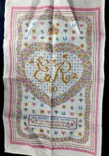 Queen Mother Elizabeth Commemorative 90th Birthday Ireland Irish Linen Tea Towel