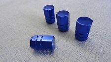 MINI COOPER BLUE FULL METAL DUST VALVE CAPS TYRE WHEEL SOLID HEXAGON COVER