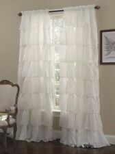 "1-pc Cream Shabby Crushed Voile Sheer Chic Ruffle Curtain Panel 60"" x 63"""