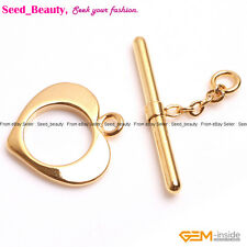 Yellow Gold-filled Toggle Heart Locket Love Jewelry Finding Clasp 15mm 1 Piece