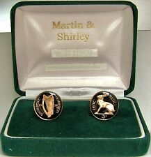 1928 IRELAND cufflinks made from first year of OLD IRISH THREEPENCE inblack&gold