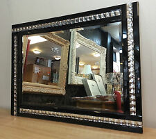 NEW Modern Art Deco Acrylic Crystal Glass Design Bevelled Mirror 60x80cm Black