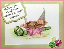 Birthday Cupcake HOUSE MOUSE Wood Mounted Rubber Stamp STAMPENDOUS, NEW - HMP45
