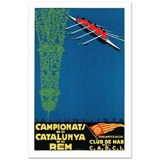 Campionats de Catalunya de Rem Hand Pulled Lithograph by RE Society Org. Camiro