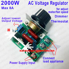 Adjustable Voltage Regulator AC Motor Speed Controller 2000W 50-220V 8A PWM Hot