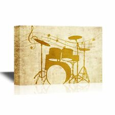 wall26 - Canvas Wall Art - Drum Set on Vintage Background - Ready to Hang -16x24