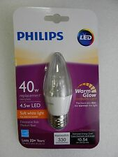 Philips 40 Watt 4.5w A19 LED Light Bulb Soft White Dimmable Candle Warm Glow E26