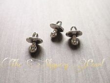 Pacifier Charms Baby Charms Baby Shower Favors Antiqued Silver 3D Charms 10 pc