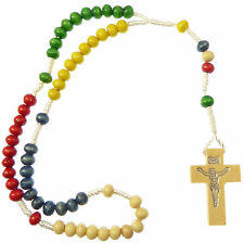 Wood missionary rope rosary beads red green yellow blue white mission small