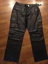 Mens BHPC Beverly Hills Polo Club Dressy Black Soft Leather Pants Size 42 NWT