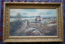 "Vintage 1900s ""Child Spying on Native American Indian Couple Kissing"" Painting"