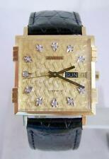 NOS 18K Gold JUVENIA MACHO DAY DATE Mens 25J AUTOMATIC Watch with Diamond Dial