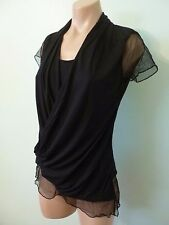 Allison Brittney Black Surplice Drape Top M Sheer Mesh Trim Blouse NWT
