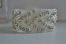 MARILYN CUFF Vintage Crystal Rhinestone Bridal Prom Bracelet Bangle Jewellery