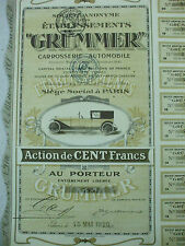 action etablissements grummer carrosserie automobile paris 1920  20 coupons