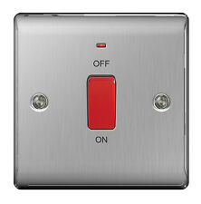 STAINLESS STEEL 1 Gang 45 Amp Cooker Switch Brushed satin - SLIMLINE - NBS74