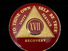 Premium Red Gold Plate Alcoholics Anonymous AA 17-Year Medallion Coin Token