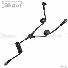 iShoot PC-30 Male to Male M-M Tri-plug Flash PC SYNC Cord Cable with Screw Lock
