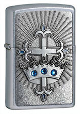 CROWN AND CROSS ZIPPO LIGHTER- SWAROVSKI CRYSTALS - NAME ENGRAVED FREE ON BACK