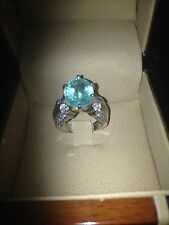 6.73 CT NATURAL  PARAIBA TOURMALINE RING 14 K WHITE GOLD with LAB report