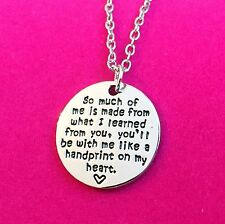 Hand-print On My Heart Silver Quote Necklace