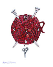 "Red ""Knitting Love"" Yarn and Needles Designer Wall Clock by Allen Designs"