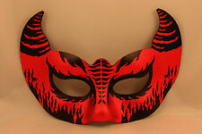 Devil Cat Mask Halloween Masked Ball Fancy Dress Red Black Satan Face DAMAGED