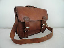 "16"" Handmade Real Brown Leather Briefcase Macbook Laptop Crossbody Bag Satchel"