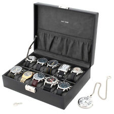 Watch Box Storage Case Leather For 10 Watches With Lined Pocket TS410BLK
