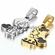 Cartoon Boy Girl Couple Pendant His or Hers Stainless Steel Set Chain Necklaces