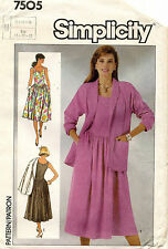 1980's VTG Simplicity Misses' Dress and Jacket Pattern 7505 Size 10-14
