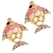 20pcs Charms Gold Plated Enamel White Rhinestone Alloy Fish Pendant Accessory L