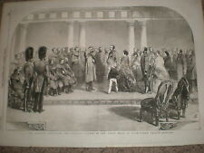 Queen Victoria meets wounded Guards from Crimea Buckingham Palace 1855 old print