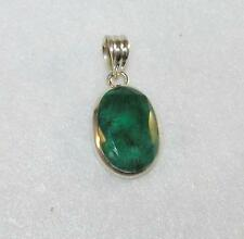 Genuine Emerald Faceted Cabochon Medium Oval Pendant Sterling Silver